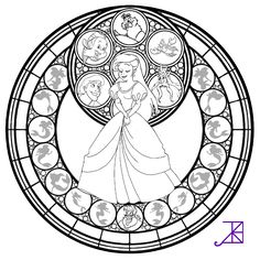 Ariel Stained Glass -line art- by Akili-Amethyst on deviantART