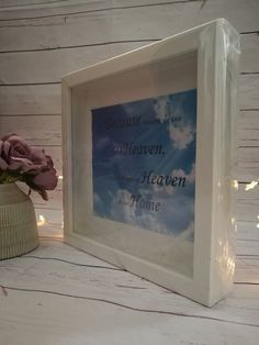 Heaven box frame with white feathers  by CathsLittleTreasures