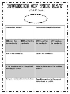 Try using a Number of the Day math routine to get your 4th & 5th graders excited about numbers.  Here is a FREE activity worksheet to get you started.