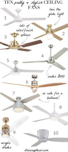 Ten Pretty & Stylish Ceiling Fans (It's Time to Kick Your Dated Ones to the Curb)! : Ten Pretty & Stylish Ceiling Fans (It's Time to Kick Your Dated Ones to the Curb)! Bedroom Fan, Gold Bedroom, Modern Bedroom, Master Bedroom, Bedroom Decor, Ceiling Decor, Led Ceiling, Ceiling Fans With Lights, Tv Decor