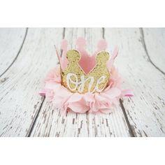 """PoshPeanut Baby Crown Princess """"ONE"""" Tiara First Birthday Hat Sparkle Gold Flower Design"""