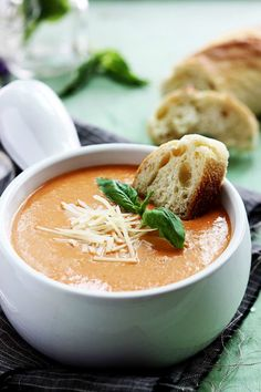 Slow Cooker Tomato Basil Parmesan Soup | cremedelacrumb.com
