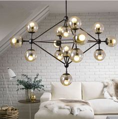 Free shipping Modern E27 glass ball chandelier Iron Beanstalk office bedroom living room dining lamp chandelier, AC110-240V