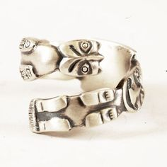 Spoon Ring Unique Vintage Alaskan Totem Pole Sterling Silver Ring, Handmade in your size (3999). $62.00, via Etsy.