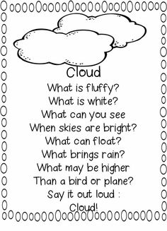 Add some literacy to your first grade science teaching with this poem about clouds from First Grade WOW! Preschool Poems, Kindergarten Poems, Kids Poems, Preschool Science, Science Classroom, Preschool Lessons, Weather Unit, Whats The Weather Song, English Grammar
