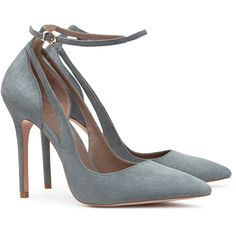 SUEDE ANKLE-STRAP SHOES ($285) ❤ liked on Polyvore featuring shoes, pumps, heels and heel pump