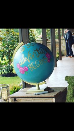 Hand painted sign-in globe for the Blough wedding
