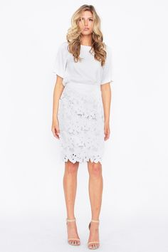 Clearly Petals Skirt – FabsZeal Lovely & Classy Floral Cutout White Skirt.  Fully Lined.