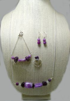 Purple Howlite Stones and crystal beads/ by DvnLghtDesignJewelry