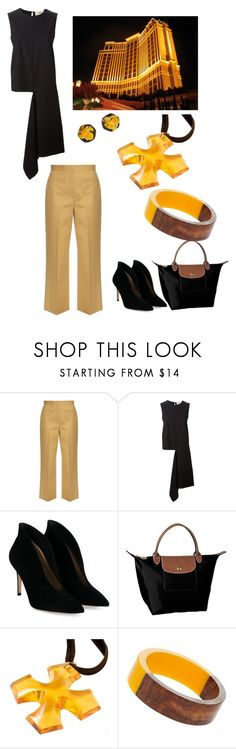 """""""black & tan"""" by mcounce ❤ liked on Polyvore featuring The Row, Ports 1961, Gianvito Rossi, Longchamp, Baccarat, Dorothy Perkins and Be-Jewelled"""