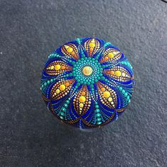 Mandala Stone big sea urchin pattern hand painted dot