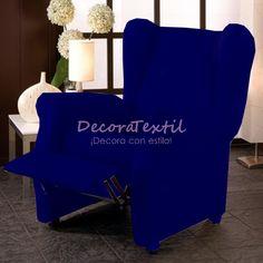 Funda Sillón Relax AzulMarinoTUNEZ, compuestas por 4 piezas, medidas estándar de 70 a 110 cm, tejido elástico, fundasadaptables a cualquier sillón relax.