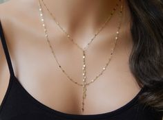 Layered Lariat Necklace, Double Strand Lariat in Gold or Silver, Cameron Diaz…