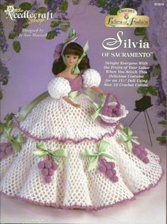 1 of 2 - Silva of Sacramento Ladies of Fashion Crochet Gown Pattern for Barbie Dolls NEW