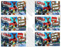 """Legos valentine - Legos Birthday Invitation - """"LEGOS"""" """"VALENTINE"""" """"MOVIE""""- Printable Legos Valentine - Birthday Party Valentine"""