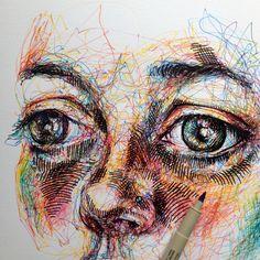 Imagen de art, drawing, and colors Polychromos, Scribble Art, Ap Studio Art, A Level Art, Wow Art, High Art, Portrait Art, Portraits, Art Sketchbook
