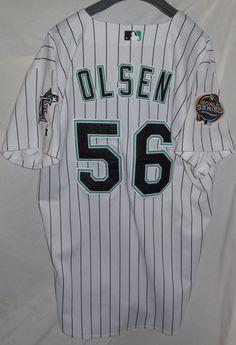 2df1b49c7 2003 Miami Florida Marlins WORLD SERIES Team Issued Baseball Jersey #56  Olsen #FloridaMiamiMarlins Miami