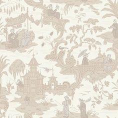 Chinese Toile by Cole & Son - Neutral - Wallpaper : Wallpaper Direct Wallpaper Free, Neutral Wallpaper, Toile Wallpaper, Chinoiserie Wallpaper, Wallpaper Online, Wallpaper Roll, Pattern Wallpaper, Charcoal Wallpaper, Bedroom Wallpaper
