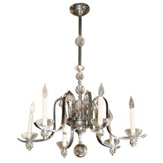 Vintage French Chrome & Glass Chandelier by Jacques Adnet
