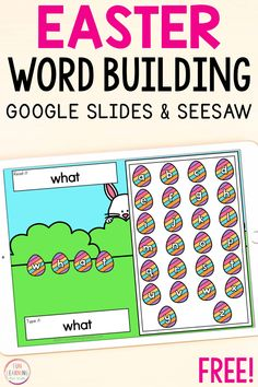 A free Easter word building activity for Google Slides and Seesaw. Work on sight words, CVC words, phonics skills, spelling, blends, digraphs, and even more word work! Learning Sight Words, Sight Words List, Sight Word Games, Learning Letters, Easter Activities For Kids, Sight Word Activities, Literacy Activities, Math Games, Spelling Words