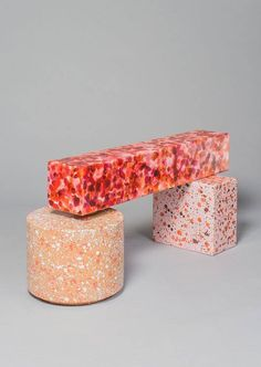 colorful furniture | kueng caputo | marble furniture | pink marble | colored furniture | pink furniture | pink bench | design furniture | contemporary furniture