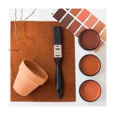 Terracotta love 💛 Testpots from top in Resene Moccaccino, Resene Desperado and Resene Hot August. Opus fabric in rust from Textilia fabrics. August Colors, Inspirational Wallpapers, Find Color, Color Studies, Colour Board, Lash Extensions, Terracotta, Paint Colors, Rust