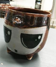 Hand-thrown Monster Character Clay Pot - Thinking Face