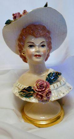 Vintage Hat Lady Head Vase
