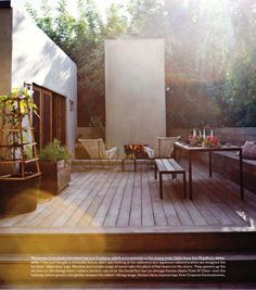Private, secluded outdoor decking, with wood fire