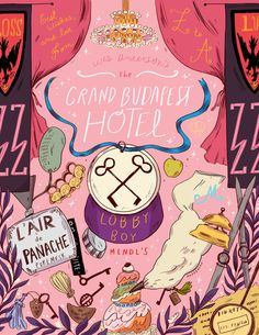 natalie-andrewson: My Grand Budapest Hotel poster for Geeksboro Coffee House! I've also finished Fantastic Mr. Fox, The Darjeeling Limited and Moonrise Kingdom posters but they haven't been released yet at Geeksboro so I have to waaiiittt.Loved re-watching this and personally, it's my favorite of his movies. I saw it several times in the theaters and would gasp and drag my friends to see it if they hadn't yet. Also the soundtrack is perfect..I listen to it almost everyday for every project…