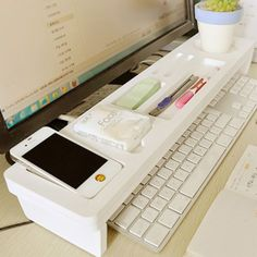 White-Keyboard-Organizer-Office-Desktop-Storage-Pen-Holder-Phone-Cup-Shelf-Rack