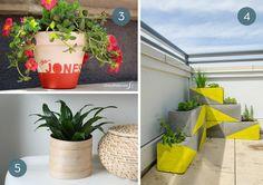 Colorful DIY planter ideas.