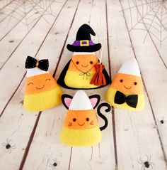 Candy Corn Halloween Ornaments Felt Toys Witch Cat Girl Boy Candy Corn Halloween…