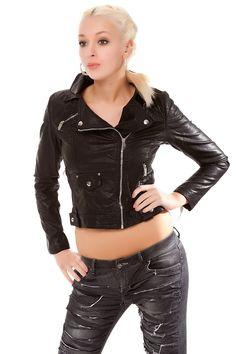 Lederimitat Jacke Biker mit schrägem Reißverschluss. Does any one think she looks kinda like Gwen Stefani?