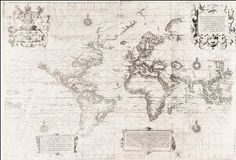 WrightMolyneux-ChartoftheWorld-c1599 The Wright-Molyneaux map, whose gores and globe - the first in England - were created by Hondius