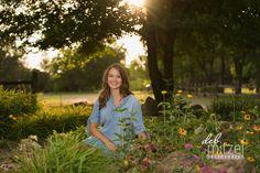 Senior photo during golden hour among the flowers at Northland Arboretum in Brainerd, Minnesota.