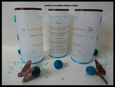 Wedding menus in turquoise and chocolate