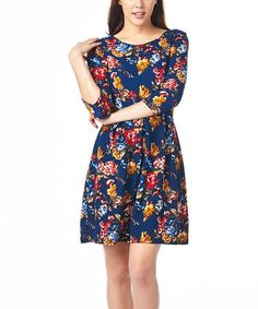 Loving this Navy Floral Fit & Flare Dress on #zulily! #zulilyfinds