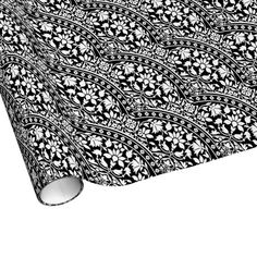Indian Black and White Floral Geometric Pattern Wrapping Paper #wrappingpaper #blackandwhite #floralpattern #indian #iconographique