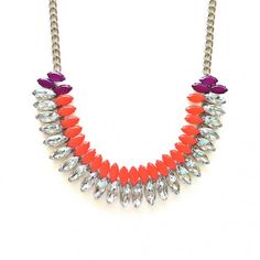 Gorgeous orange and purple rhinestone statement necklace