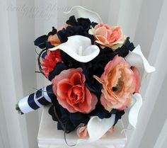 Wedding bouquet coral navy white calla by BrideinBloomWeddings, $140.00