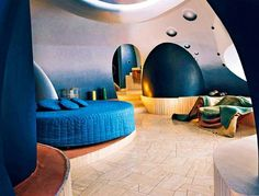 Inside - Palais Bulles - home to famous French stylist Pierre Cardin.