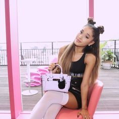 """Ariana Grande on Instagram: """"かわいい lilac @coach """"swagger"""" bag with a black kitty puff key chain inspired by moiiiii ☁️ thank you so much to Victor Luis, Stuart Vevers & my friends at @coach ✨ #coachxariana"""""""