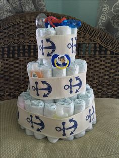 Three tier baby boy Diaper cake by Silver