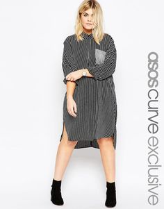 Image 1 of ASOS CURVE Shirt Dress In Stripe
