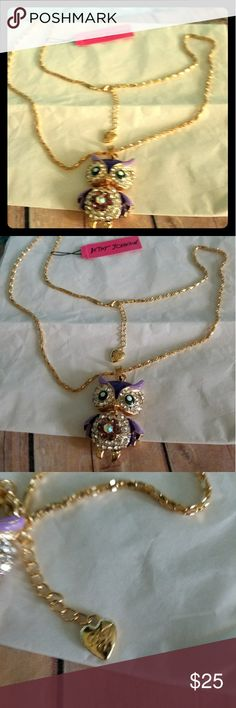 Betsey Johnson purple owl necklace Betsey Johnson purple owl with gold tone chain silver rhinestones on the face and center of pendant the owl is very cute the colors are great on this piece truly a great addition to your jewelry collection chain measures 26 in 3 inch extender pendant is 2 3/8 in if you need help please ask bundle to save thank you for browsing my closet Betsey Johnson Jewelry Necklaces