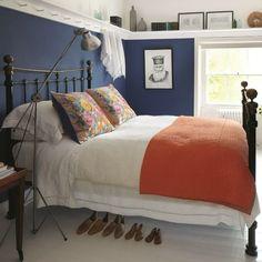 TV series Great Interior Design Challenge Peg rail in bedroom adds neat extra storage. Design by Sarah Moore Grown Up Bedroom, Blue Bedroom, Bedroom Decor, Bedroom Ideas, Bedroom Shelves, Wall Shelves, Girls Bedroom, Shelving, Shelf