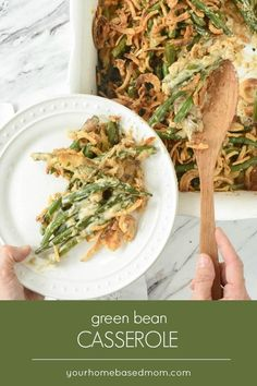 This classic green bean casserole is made with fresh green beans and mushrooms and no canned soup to give it a better flavor and texture. Homemade Green Bean Casserole, Classic Green Bean Casserole, Healthy Casserole Recipes, Healthy Recipes, Fast Recipes, Healthy Meals, Yummy Recipes, Vegetarian Recipes, Vegetable Dishes