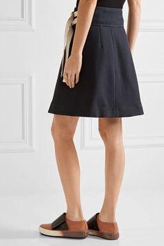 Marni - Canvas-trimmed Twill Wrap Skirt - Midnight blue - IT44