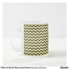 Light Blue & Black Wavy Lines Pattern Blue Coffee Mugs, Line Patterns, Custom Mugs, Yellow Black, Tea Cups, Light Blue, Tableware, Dinnerware, Blue Coffee Cups
